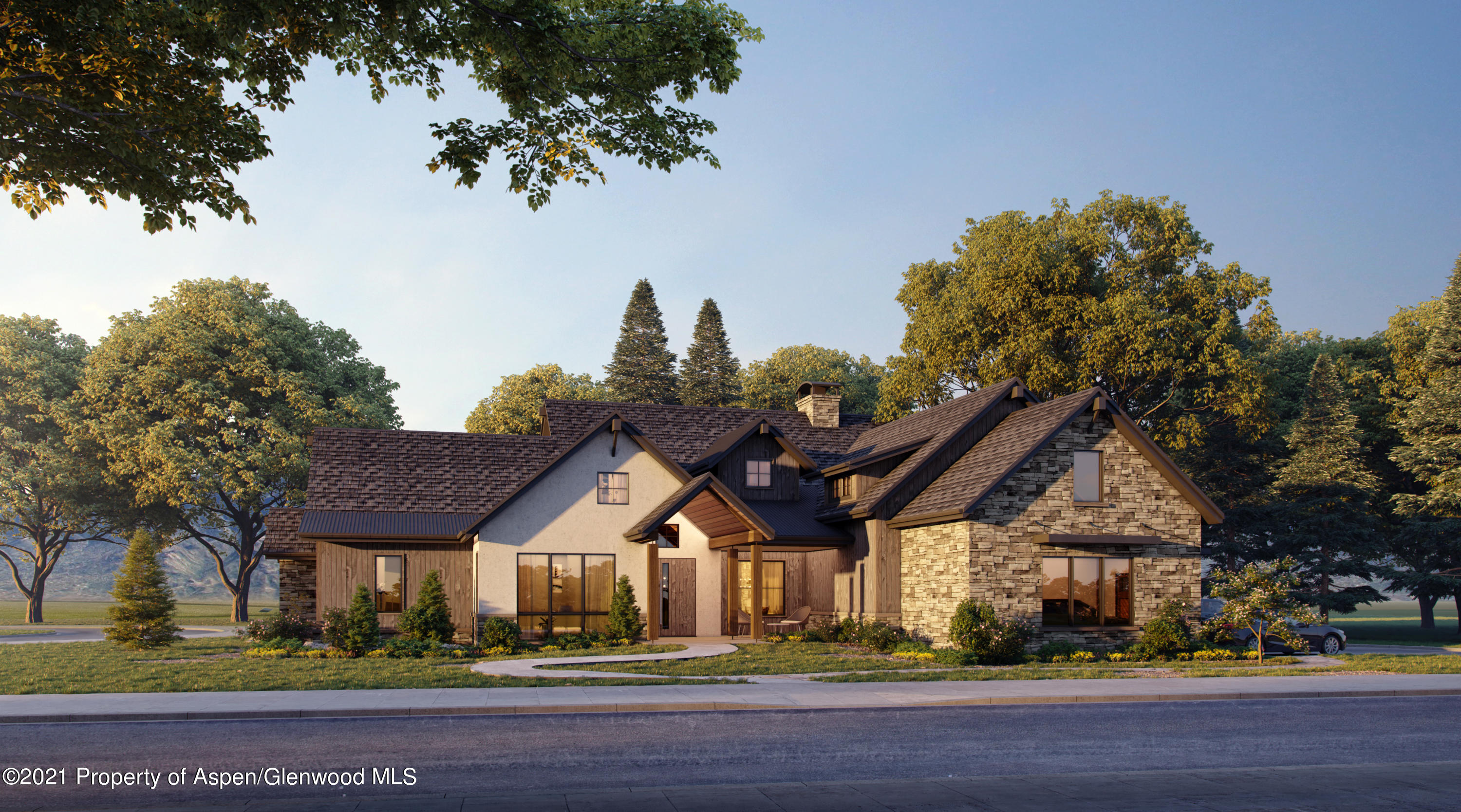 NEW RANCH STYLE HOME IN ASPEN GLEN!Imagine your family in this spacious, well-conceived custom home in a serene Aspen Glen location.  Meticulously hand-crafted with a balance of steel, stone and wood giving a timeless look and feel to this new masterpiece.  One-floor living features a grand master suite, with fireplace and southwestern views from inside and the adjoining patio.   Two more en-suite bedrooms are also on the main floor.   Living is effortless in the seamless kitchen, dining and grand-room areas, complemented by a second fireplace and a wall of windows opening to large patios, offering wonderful entertaining areas inside and out.   A three-car garage and a basement ready to finish complete this gorgeous home.