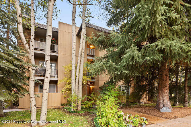 Want to be in Aspen but don't want the hustle and bustle of downtown?  If so, then this 550 sq. ft. ground-floor studio apartment is for you.  Located in the south-east corner of the building with a huge tree for shade and privacy just outside your deck.  Hallam street is closed to through traffic & easy to park right outside the unit or in one of the first-come, first-service parking spaces behind the building.  Cute as a button with a wood-burning fireplace, wood floor, counter seating, galley kitchen. & bedroom alcove.  Light & bright!  Laundry and storage across the hall.  Onsite mail box.