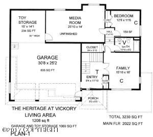 Plan with unfinished media room