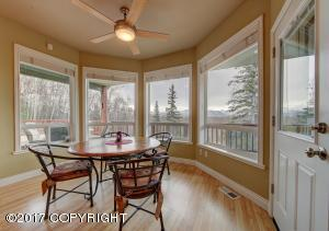 Very inviting Breakfast nook with 180 degree view windows