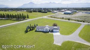 South looking aerial of home and 2.44 acres with excellent Chugach Mountain views.