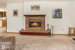 Wood burning fireplace in home.