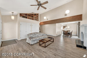 Vaulted ceilings with tons of storage and a built-in mini library!