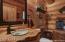 Handpainted Pottery Sink, Log Burl Counter