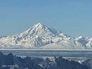 view of Redoubt Mountain across Cook Inlet