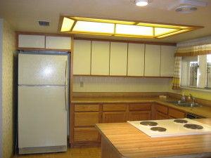 BUTCHER BLOCK COUNTERS, DOMED LIGHT AREA,
