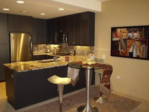 Highly Upgraded Kitchen with slab counters and high end cabinets and appliances
