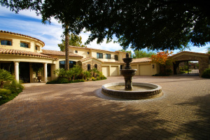 Front Courtyard with Cantera Water Fountain