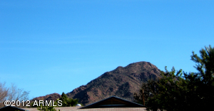 View of Camelback Mountain from front yard of home
