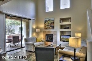 Relax in the bright open living room.