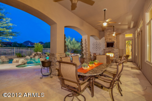 Extended Extra Deep Covered Patio with Stacked Stone Gas Fireplace!