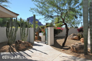 View from front courtyard patio of Entry Gate and Camelback Mtn.