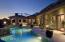 South Patio with Sunset, City Light Views & Fire Wok's as pillars to Pool