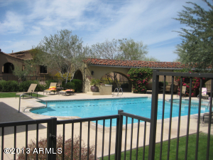 Community heated pool and spa area