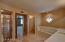 Master Bath w/ Dual Sinks and Travertine Flooring, Separate Tub & Shower