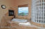 tub, fireplace, and direct view to Granite Mountain.