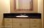 New sink, vanity, granite counter in hall bath