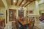Custom chandelier in dining room.