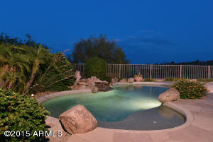 Night time views of the pool.