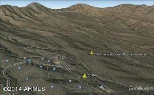 Google Earth View Of The Homesite Backing Directly Onto The McDowell Mountain Preserve...