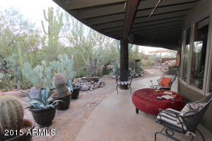 Covered patio with private desert experience.