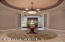 Foyer, Impressive Cove Lighting, Custom Front Door with Etched Glass Surround.