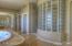 Master Bath -glass block, mirrored wardrobe closets