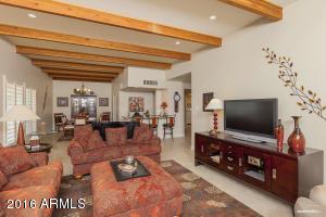 living room looking towards dining room, wine bar