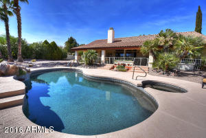 Incredible entertaining back yard with views of Red Mountain.