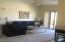 Living room showing corner fireplace