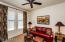 Large guest bedroom or study/office. This sofa pulls out to be a bed so this room has many purposes.