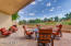 Retractable awning extending covered pace for outdoor entertaining