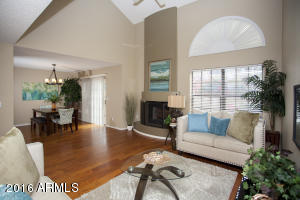 Wood floors, vaulted ceilings and south facing windows.