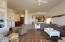 21' x 17' Great room floor plan open up to kitchen and sliding glass doors to the patio.