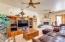 Great room offers flexible floor plan and custom fireplace