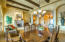 Formal Living/Dining with warm wood beam ceilings