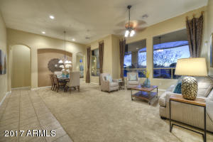 Open concept dinning/living room with sunset views- New Carpet