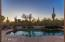 Resort style pebble tec finish pool with natural desert and beautiful sunsets beyond
