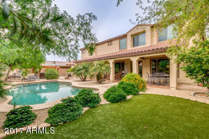 Stunning backyard with sparkling pool, artificial grass for easy maintenance and beautiful shrubbery.