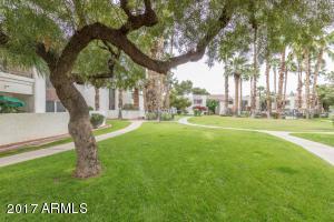 Beautiful mature trees and lush grounds.