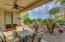 Backyard made for Relaxation - covered patio w/ fan, pavers, above ground spa, fountain, built in BBQ, and mature landscape