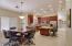Kitchen and Dining area with soaring ceilings