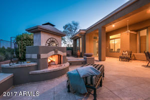Amazing gas and fire burning outdoor fireplace