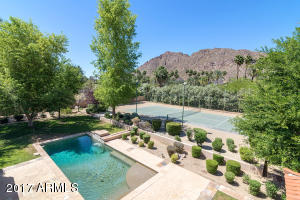 Camelback Mountain, pool and tennis court, all off the magnificent patio