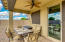 Back patio with ceiling fan