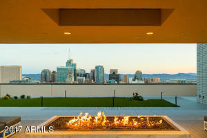 Roof top fire pit facing South