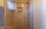 Travertine Shower with Rain Glass Door