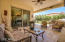 Intimate and private back yard space with built-in BBQ and fireplace.