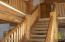 Half-log stairs to loft area, second floor
