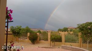Rainbow over Usery Pass from backyard